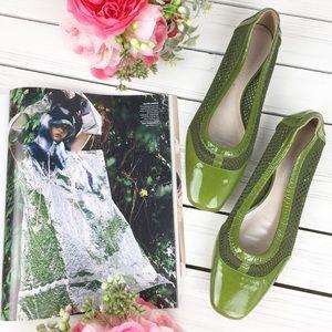 Aquatalia Shoes - Aquatalia Green Patent Mesh Flats